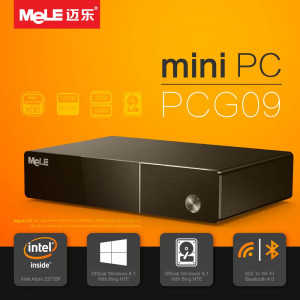 Mini PC MeLE PCG09 czterordzeniowy HTPC z Intel Atom Z3735F, 2GB RAM, 1080P HDMI 1.4, HDD kieszeń, VGA, LAN, WiFi, Bluetooth, Windows 10 OS z Bing