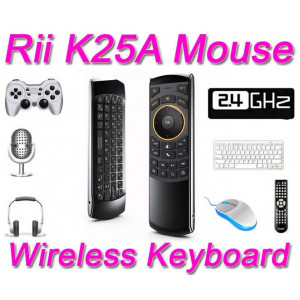 Bezprzewodowa mini klawiatura z pilotem i Air Mouse Riitek RII K25A RT-MWK25A (mikrofon)