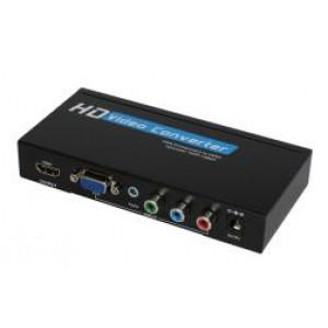 VGA/Component +Audio do HDMI 1080p konwerter z USB-multimedia odtwarzaczem