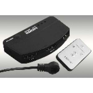 Przełącznik HDMI 3x1 z  przedluzaczem IR i pilotem (obsługa 3D)